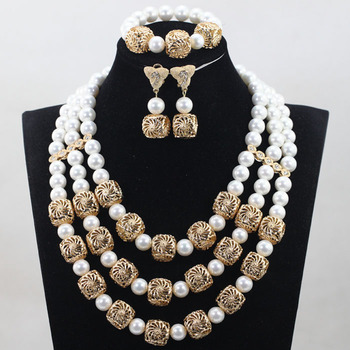 New Dubai Set Fantastic Wedding Shell Pearl Necklace Jewelry Set African White Beads Jewelry Set Women Party ABH410