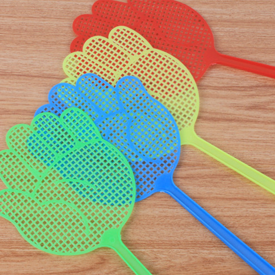 Hot 10Pcs Cute Palm Pattern Plastic Fly Swatter Lightweight Household Flapper Mosquito Bug Zapper Pest Control Color Random