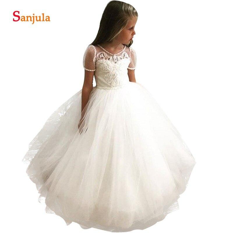 Dot Tulle Short Sleeve   Flower     Girl     Dresses   Beaded Scoop Neckline Wedding Party Gowns For Kids Ball Gown Children   Dress   New SF005