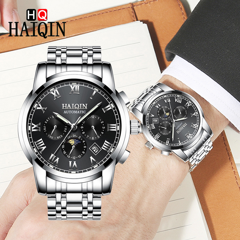 HAIQIN 2019 Mens Watches Fashion Top Brand Luxury Machinery Military Automatic Clock Moon Phase Male Watches Relogio Masculino HAIQIN 2019 Mens Watches Fashion Top Brand Luxury Machinery Military Automatic Clock Moon Phase Male Watches Relogio Masculino