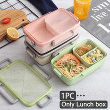 Microwave Safe With Lid Eco-friendly Easy Clean Independent Lattice Lunch Box Bamboo Fiber Office School Healthy Food Container