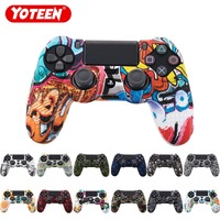 YOTEEN Camouflage Case Graffiti Studded Dots Silicone Rubber Gel Skin for Sony PS4 Slim/Pro Controller Cover Case for Dualshock4