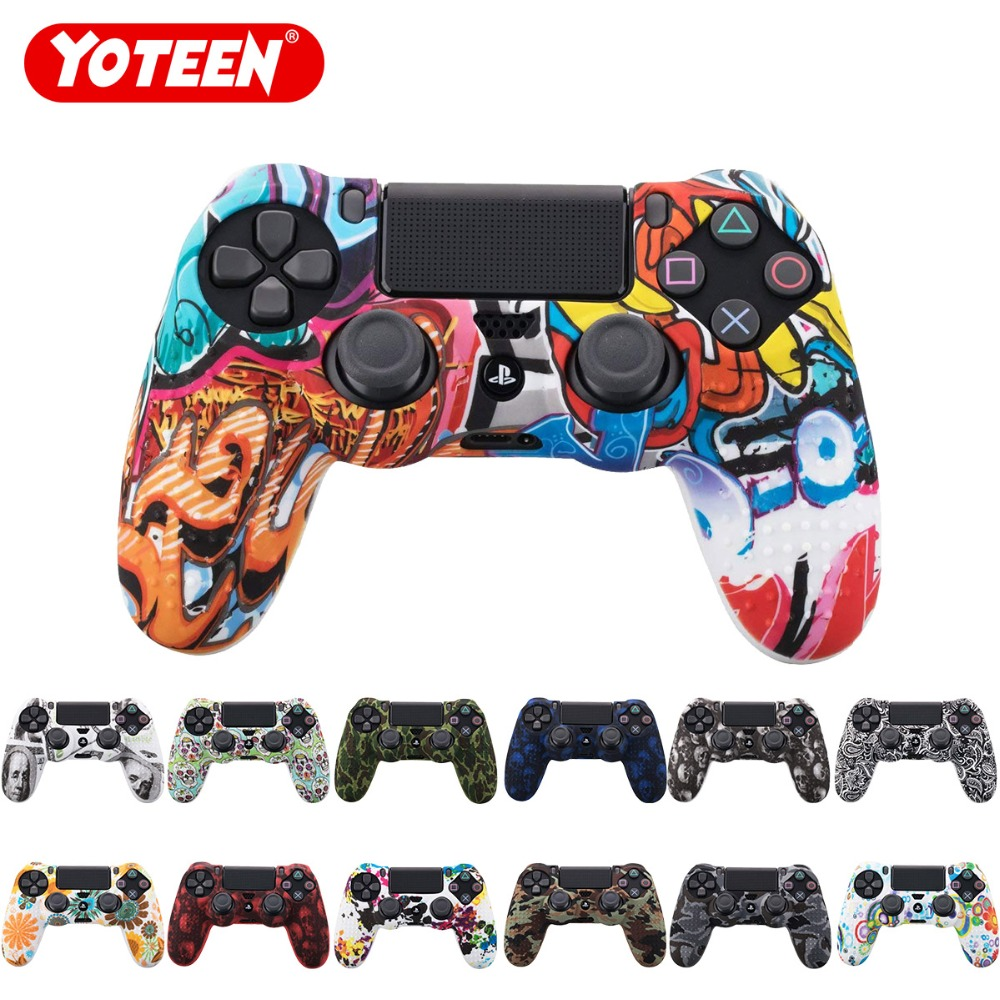 YOTEEN Camouflage <font><b>Case</b></font> Graffiti Studded Dots Silicone Rubber Gel Skin for Sony <font><b>PS4</b></font> Slim/Pro <font><b>Controller</b></font> Cover <font><b>Case</b></font> for Dualshock4 image