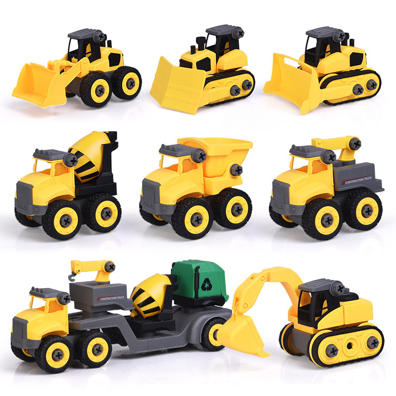 Finger Rock Disassembly City Engineer Vehicle Toys DIY Assembly With Tool Screw Excavator Crane Bulldozer Model Car Toy For Kids