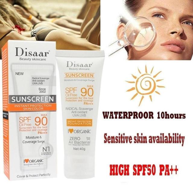 40g Sunscreen Cream Spf Max 90 Oil Free Radical Scavenger Anti Oxidant Uva/uvb Skin Care Facial Sunscreen Cream Dropship