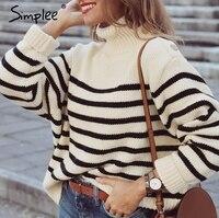 Simplee Turtleneck stripe side button streetwear sweater women 2018 autumn jumper winter sweaters female Casual pull streetewear