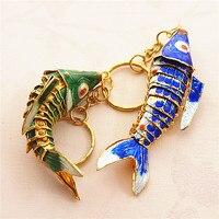 국가 8.5 스윙 잉어 물고기 열쇠 고리 열쇠 고리 중국어 칠보 잉어 액세서리 공예 에나멜 패션 동물 키 체인 민족 선물