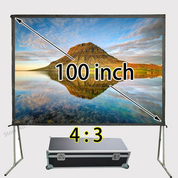 Professional Facotry Supply Fast Fold Projector Projection Screen 80x60inch Viewable With Travel Flight Case