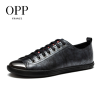OPP Mens Leather Lace Up Casual Shoes Metal Toe Solid Leather Stitching Fashion Flats Shoes