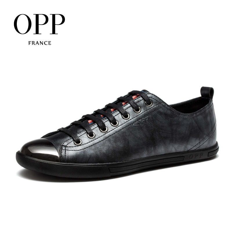 OPP New Mens Leather Lace-up Casual Shoes Metal Toe Leather Stitching Fashion Flats Shoes Loafers for Men zapatillas hombre