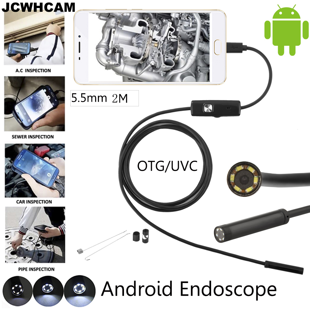 5.5mm Lens Android OTG USB Endoscope Camera 2M Smart Android Phone USB Borescope Inspection Snake Tube Camera 6LED