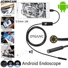 Jcwhcam 5.5mm 렌즈 안드로이드 otg usb 내시경 카메라 2 m 스마트 안드로이드 전화 usb borescope 검사 스네이크 튜브 카메라 6led