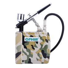 цена на OPHIR Blue Camouflage 0.3mm Adjustable Airbrush Kit with Mini Air Compressor for Temporary Tattoo Hobby _AC003BF+AC079BF