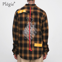 Plegie Hand&Flower Printing Check Shirts Couple Skateboard Casual Shirts Mens Red Tape Design Plaid Shirt Dropshipping