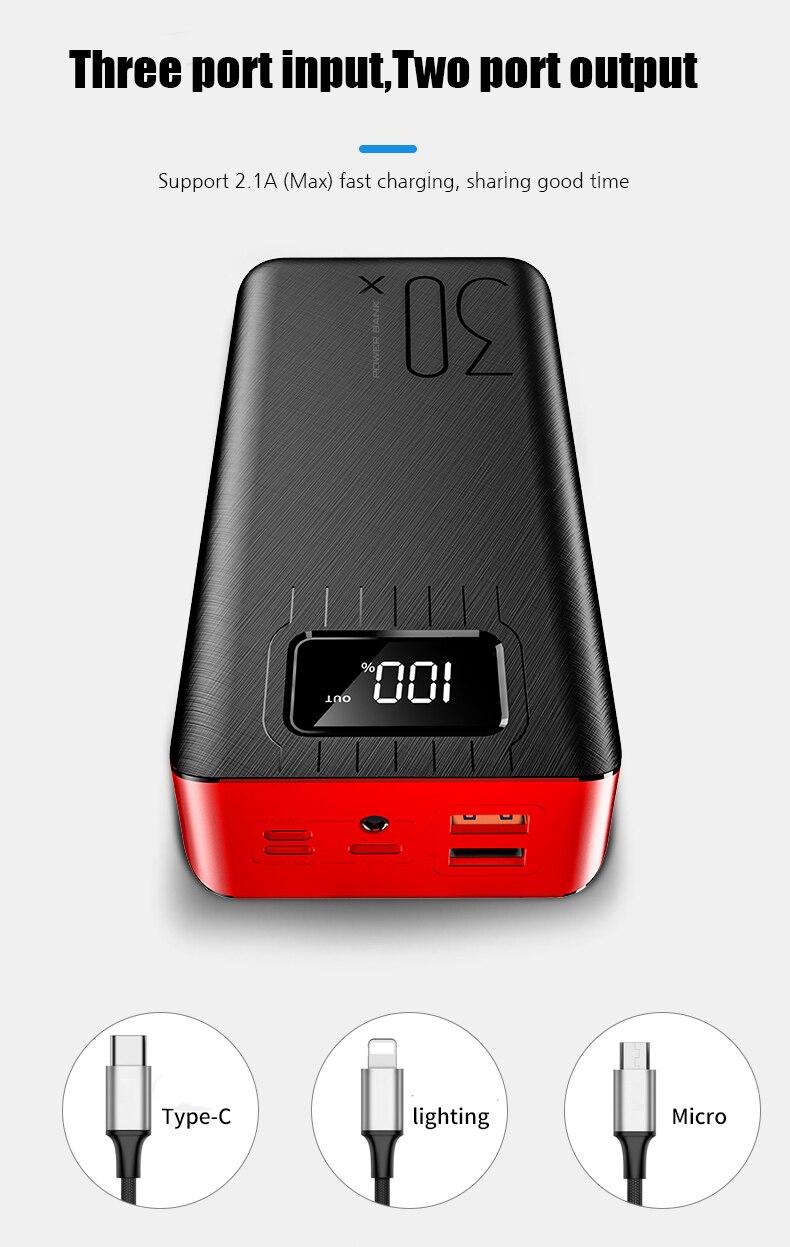 Внешний аккумулятор 30000 мАч, внешний аккумулятор TypeC Micro USB QC, быстрая зарядка, внешний аккумулятор, светодиодный дисплей, портативное зарядное устройство для телефона, планшета