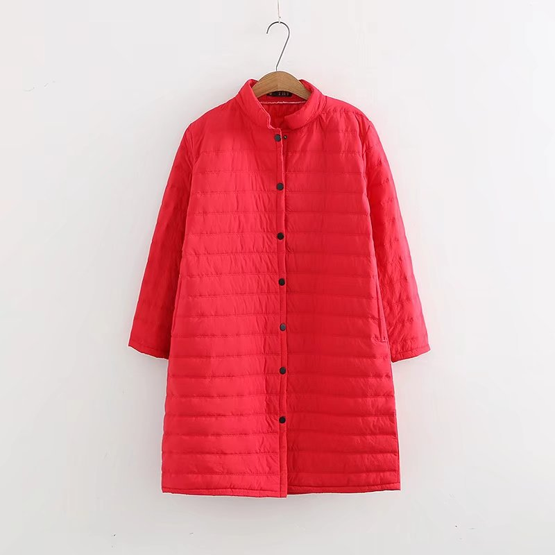 Plus Size Thin Red Wadded Autumn Winter Jackets Women Cotton Long Padded Coat Outwear