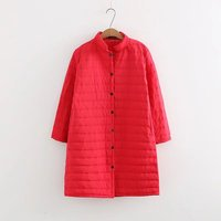 Plus Size Thin Red Wadded Autumn Winter Jackets Women Cotton Long Padded Coat Outwear Warm Chaquetas Parka Feminina