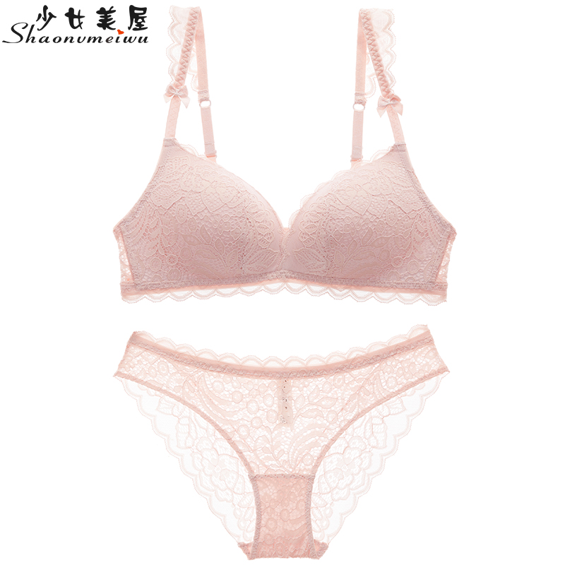 shaonvmeiwu Deep V gathered underwire   bra     set   sexy lace lingerie thin cotton ladies pink summer