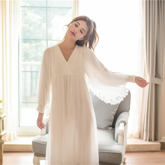 Nightgown Vintage Sleepwear Women Dress Long Nightgown Princess Lady N Home  Clothing For Bed 242e9124f852