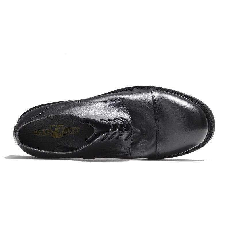 Cuero Black Hombre Nueva Llegada Moda Hipster Transpirable De Zapatos Calzado Tacón Casual Genuino Retro Bajo brown w86q1x6