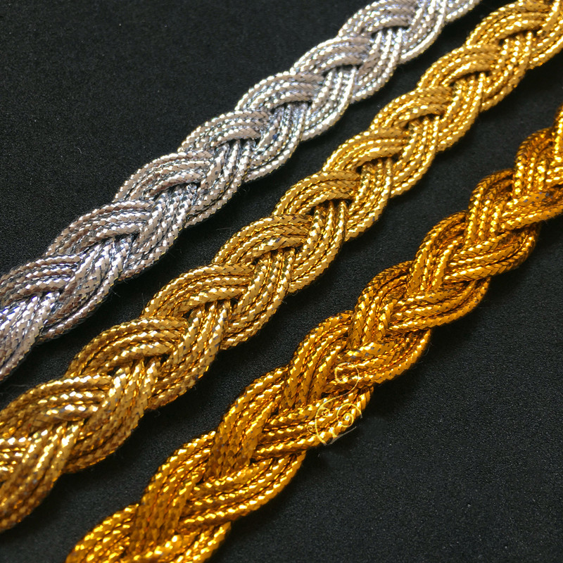 YACKALASI 13 Yds Gold Braided Band Lace Appliqued Crochet Trims Vintage Cosplay Costumes Appliqued Sewing Apparel Ribbon 1.1CM