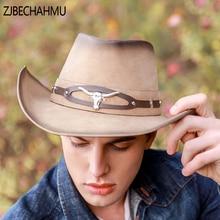ZJBECHAHMU Fashion New Vintage Leather Fedoras Hat For Men Women Snapback Outdoor holiday beach hat Wedding Summer Jazz