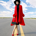2016 Autumn and Winter Fashion Korean Women's Elegant Outwear Solid Color Medium Long Wool Jacket Coat Fox Fur Long Sleeve Coat