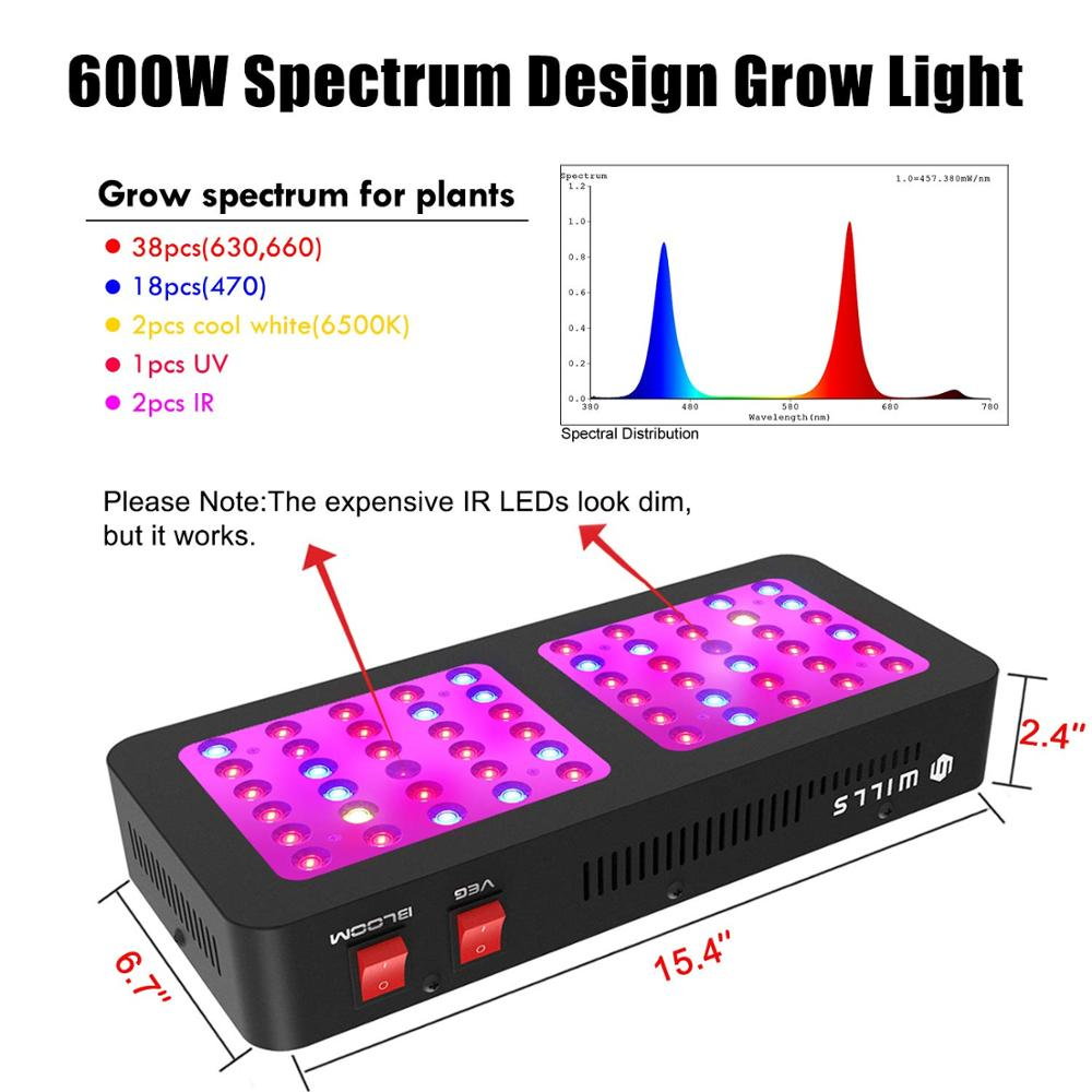 Reflector LED Grow Light 600W Full Spectrum for Hydroponic Indoor Plants Growing Veg and Flower Plant Lights High Yield in Growing Lamps from Lights Lighting