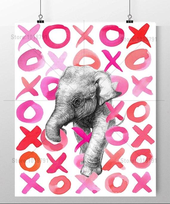 Вышивка розового слона