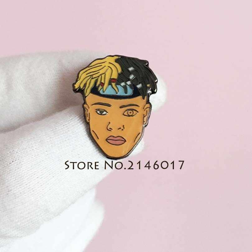 10pcs Trendy Creature Enamel Badge Raper Xxxtentacion Character Musician  Lapel Pin Hip-Hop Cool Rap fc00de5bf505