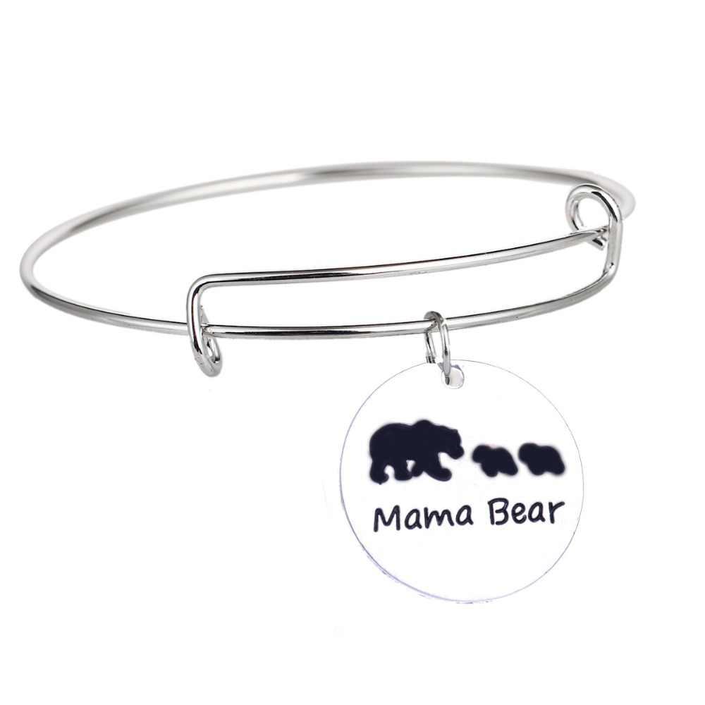 Dla dzieci i Mama niedźwiedź bransoletka rodziny zwierząt dla dzieci prezenty Charm bransoletka kobiety Mama matki bransoletki biżuteria regulowana opaska na nadgarstek prezent