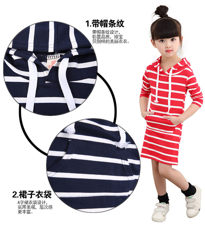 e2f43a478a48c Fashion Autumn Girls Dress Cotton Long Sleeve Kids Clothes Toddler Vestidos  Striped Tutu Baby Dresses Girl Children Clothing