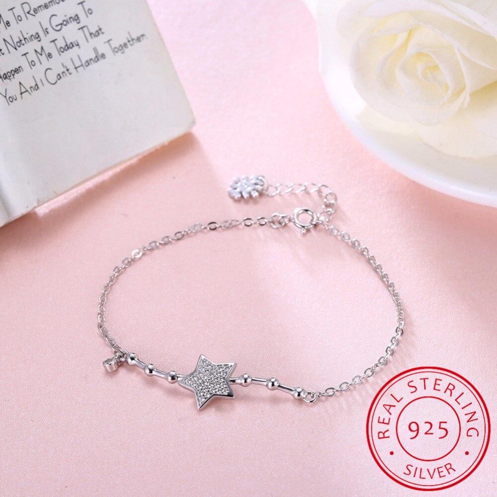 Real 925 Sterling Silver Star Bracelets & Bangles for Women Jewelry  Rhinestone Bamboo Styles Link Chain Bracelet Female-in Charm Bracelets from