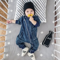 6 24M Baby Cotton Jeans Boys Jumpsuit Cowboys Clothes Hooded Kids Clothing