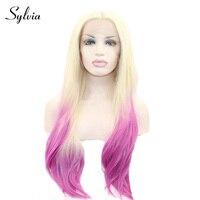 실비아 613 금발 핑크 선염 자연 직선 합성 레이스 프런트