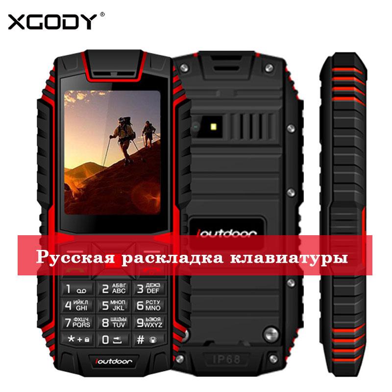 XGODY ioutdoor T1 2g Caratteristica Del Telefono IP68 Antiurto cep telefonu 2.4 ''128M + 32 m GSM 2MP Fotocamera Posteriore FM Telefon Celular 2g 2100 mah