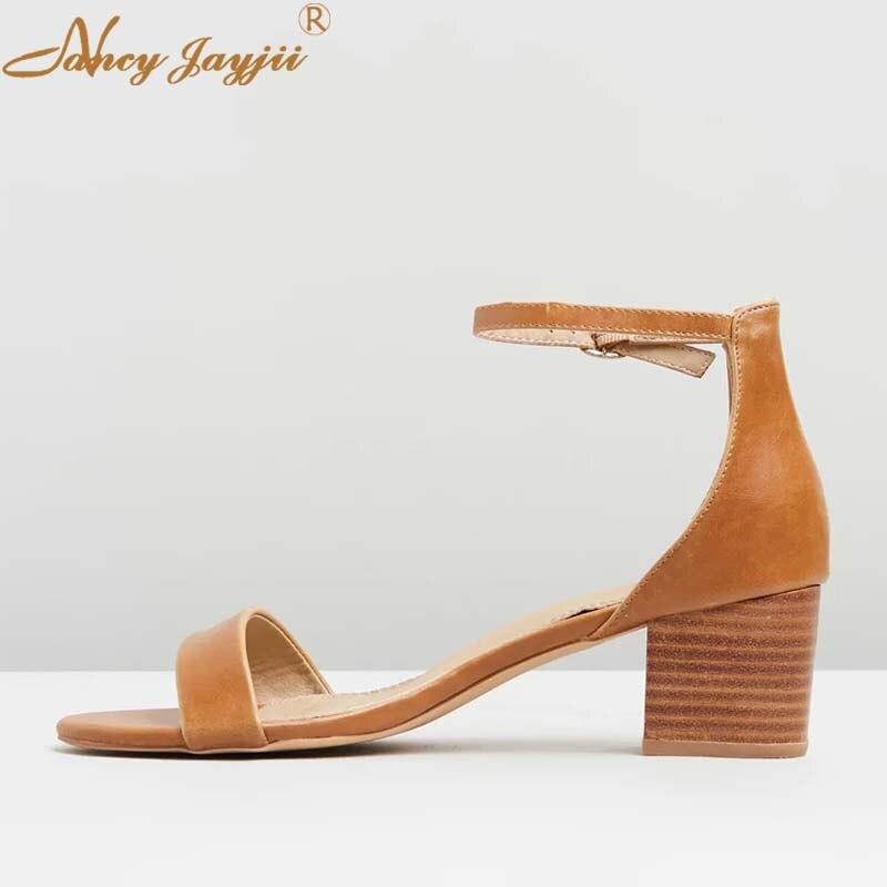 Nancyjayjii Cuadrados Marrón Delgada Tobillo Brown Tan Zapatos Alto Tacones  Elegante De Dama Correa Verano 2019 Mujeres Bloque Sandalias ... 8c823b558cc7