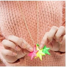 Lovely Candy Color Three-dimensional Fluorescent Yellow Green Star Long Sweater Chain Pendant Women Necklace Jewelry 4ND159(China)
