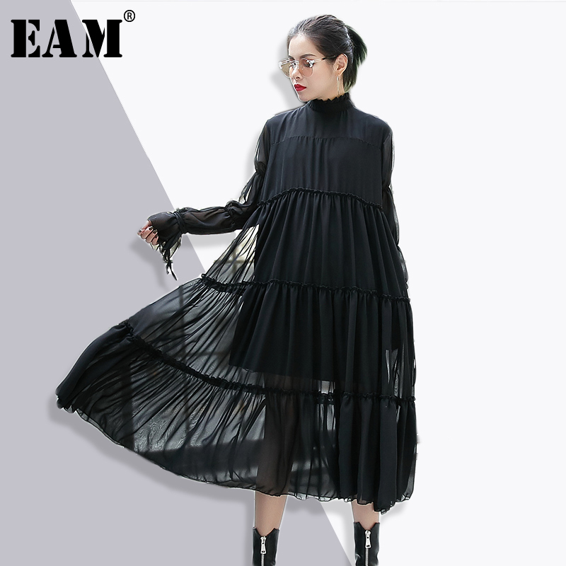[EAM] 2018 New Autumn Stand Collar Long Sleeve Solid Color Black Chiffon Split Joint Loose Dress Women Fashion Tide JE36101