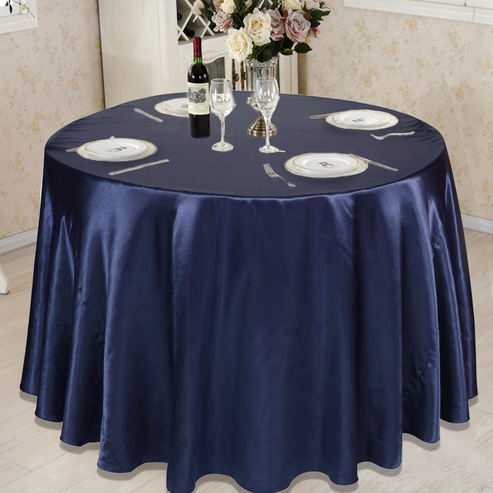 10pcs Lot Satin Table Cloth 90 108 120 Round Table Cover WholeSale Tableclothes For Wedding Event