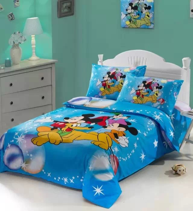mickey minnie and goofy comforter bedding set single twin size bed duvet covers bedclothes cotton Childrens bedroom decor 3-5pcmickey minnie and goofy comforter bedding set single twin size bed duvet covers bedclothes cotton Childrens bedroom decor 3-5pc