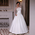 2017 Elegant A Line Satin Sheer Long Sleeve Wedding Dress Scoop With Appliques Ruched Bride Gown Floor Length Robe De Mariage