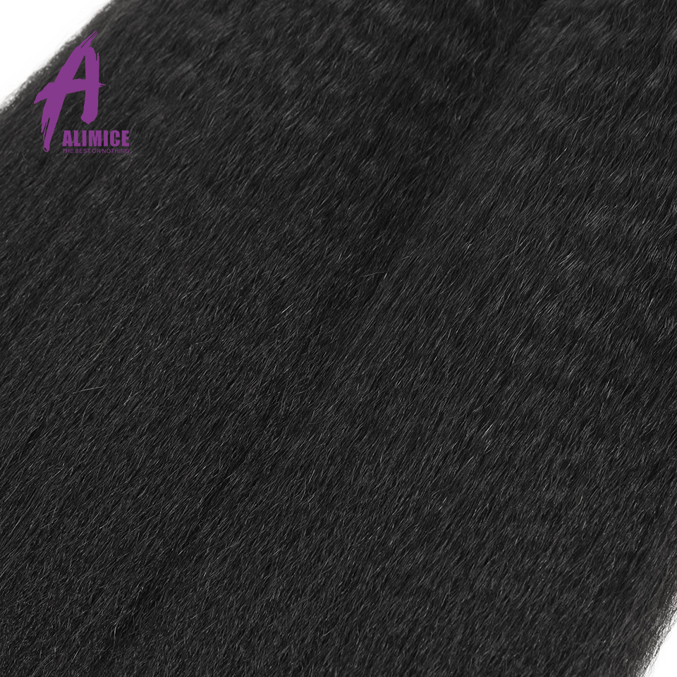 ALIMICE Hair Brazilian Kinky Straight Hair Bundles With Closure Human Hair 3 Bundles With Closure 100% Non Remy Hair Coarse Yaki