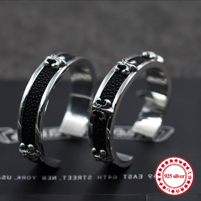 S925 sterling silver men's bracelet personality retro domineering fashion punk-style hip-hop anchor styling send lover's Bangles