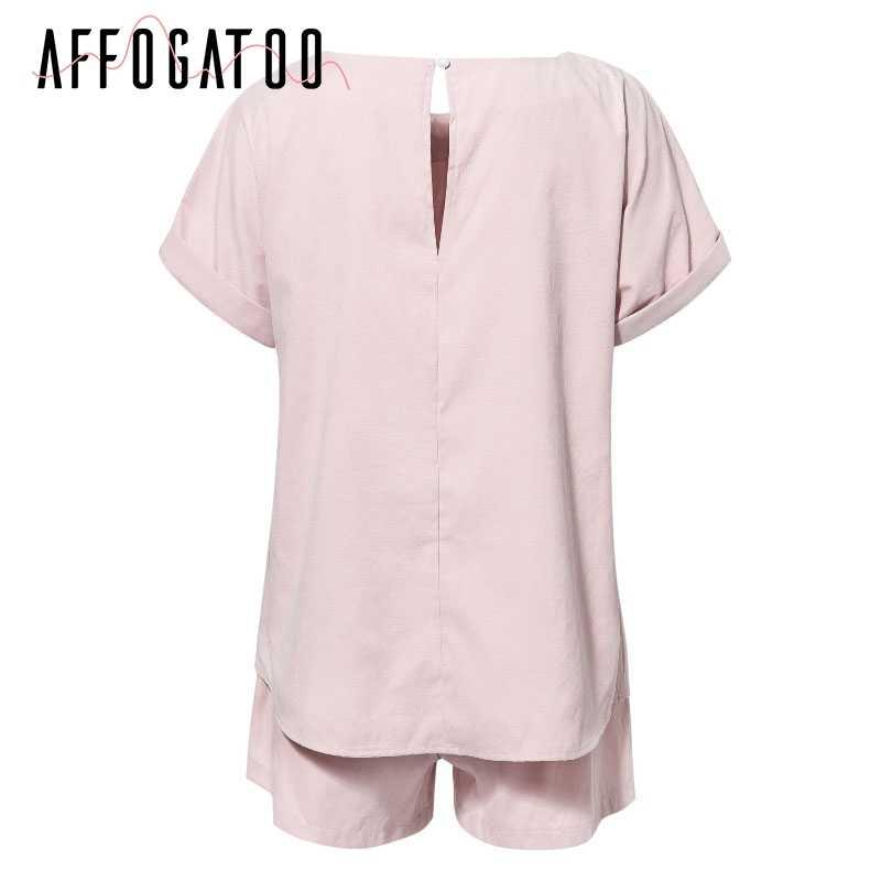 Afogatoo Повседневный женский комбинезон из двух частей, однотонный уличная одежда, Летний комбинезон с высокой талией, топ, рубашка, комбинезоны 2019