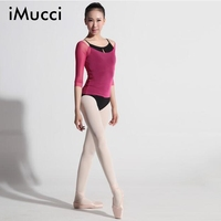 IMucci Sexy Fifth Sleeve Women Ballet Blouse Gymnastic Leotards Suit Overalls Round O Neck Midium Sleeve