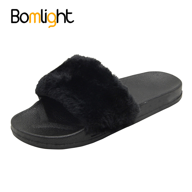 Bomlight Super Soft Fur Sliders Shoes Mules Slipper Women Fur Flip Flops  Sandals Home Slipper Casual Thicker Plush Indoor Shoes 0ecce7e31