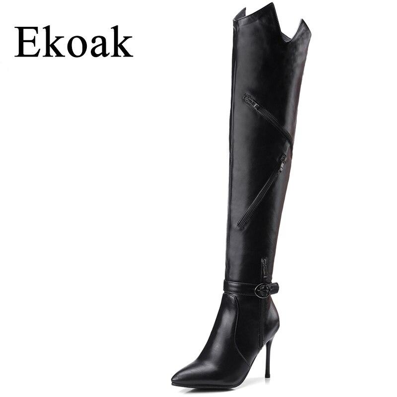 Ekoak/Новинка 2018 г. весенние женские облегающие высокие сапоги модные сапоги выше колена на застежке-молнии Сапоги и ботинки для девочек Женск...