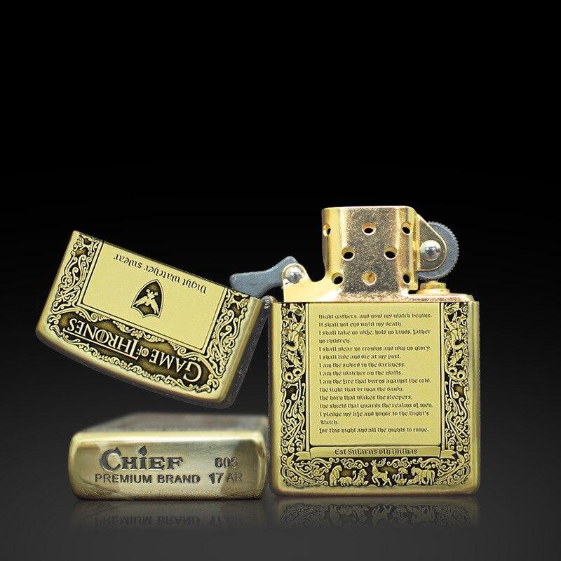 Зажигалки и аксессуары для курения, лед и пламень стали металлический корпус подарок керосин зажигалки, Для мужчин подарок.