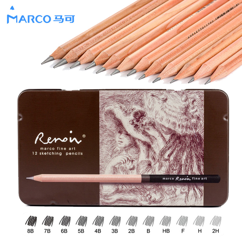 12 Pieces/Box Marco's Sketch Drawing Pencil Set Non-toxic Pencils For School Student Top Quality Standard Pencils lapiz 3001 50 pcs box hb standard pencil set for kids non toxic crude wood pencils for school student brand stationery drawing writing